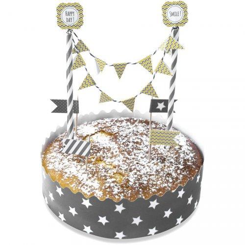 Kit décoration Gâteau Gris/jaune