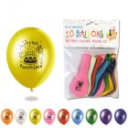 10 Ballons Multicolores Joyeux Anniversaire