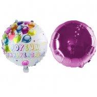 2 Ballons Joyeux Anniversaire Double face Rose (45 cm)