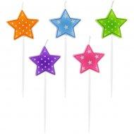 5 mini Bougies Etoiles Multicolores (7 cm)