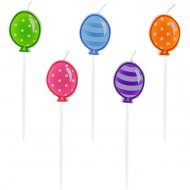 5 Mini Bougies Ballons Multicolores (7 cm)