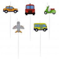 5 Mini Bougies Engins de Transport (7 cm)