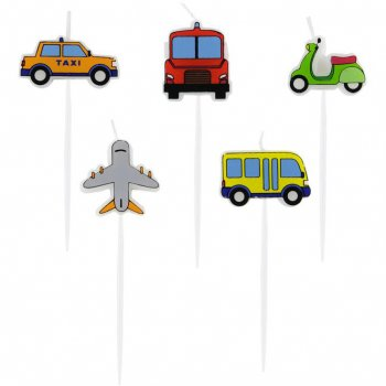 5 Mini Bougies Engins de Transport (7 cm)