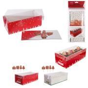 Kit Boîte à Bûche Noël (26cm) + Pics Rouge