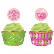 Kit 12 Wrappers et Déco Cupcakes Ocean Rose