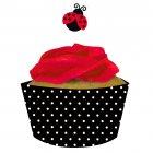 Kit 12 Wrappers et Déco Cupcakes Coccinelle