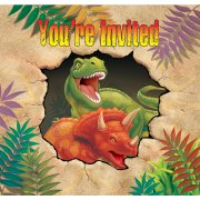 8 Invitations Dino Relief