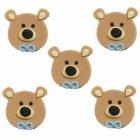 5 oursons en sucre Noeud Bleu à plat