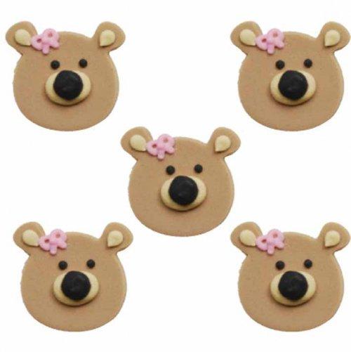 5 oursons en sucre Noeud Rose à plat