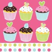 16 Serviettes Cupcake Friandise