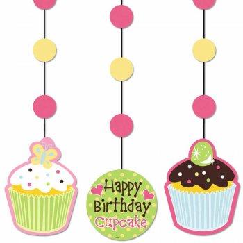3 Décorations à suspendre  Cupcake Friandise