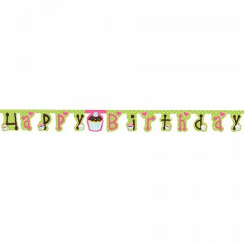 Guirlande lettres Happy Birthday Cupcake Friandise