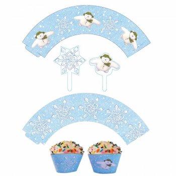 Kit 12 Wrappers et Déco Cupcakes Flocons de Neige