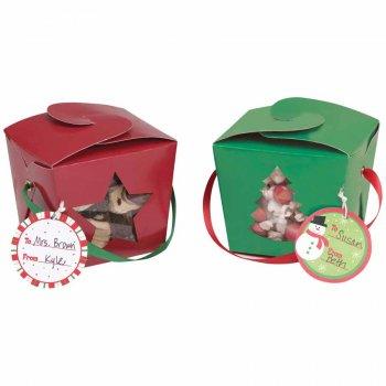 4 Boîtes à Gâteaux Vert et Rouge