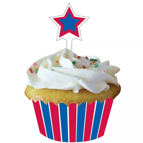 Kit 12 Wrappers et Déco Cupcakes American Party