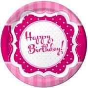 8 Assiettes Happy Birthday Girly