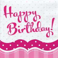 18 Serviettes Happy Birthday Girly