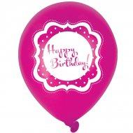 6 Ballons Happy Birthday Girly