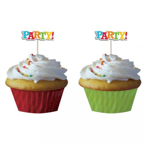 Kit 12 Caissettes et Déco à Cupcakes Fun Party
