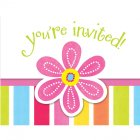 8 Invitations Pink Flower