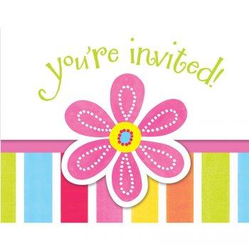 8 Invitations Pink Flower