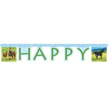 Guirlande lettres Happy Birthday Cheval Nature