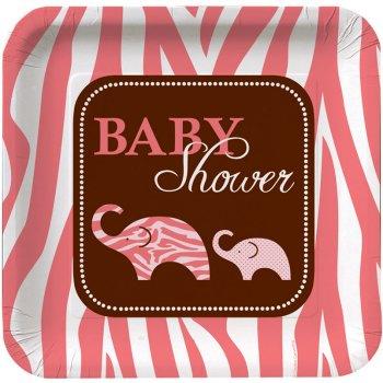 8 Assiettes Baby Safari Pink
