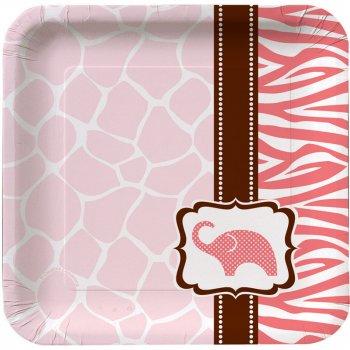 8 Petites Assiettes Baby Safari Pink