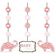 3 D�corations � suspendre Baby Safari Pink
