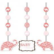 3 Décorations à suspendre Baby Safari Pink