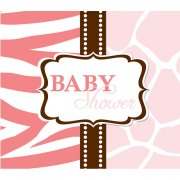 8 Invitations Baby Safari Pink
