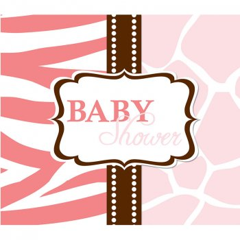 8 Invitations Baby Safari Pink