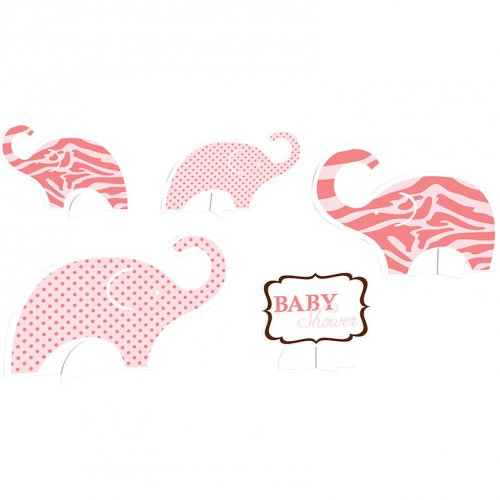 5 Centres de table Baby Safari Pink