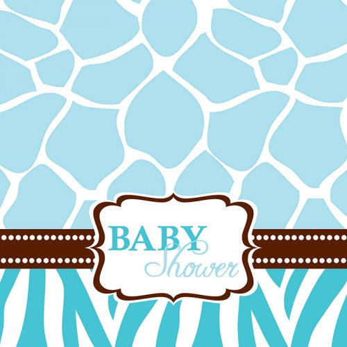 16 Serviettes Baby Safari Blue