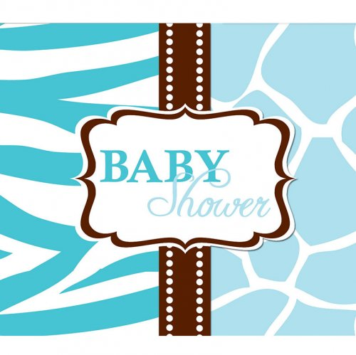 8 Invitations Baby Safari Blue