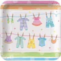 Contient : 1 x 8 Assiettes Baby Shower Pastels
