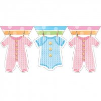 Contient : 1 x Guirlande Fanions Baby Shower Pastels