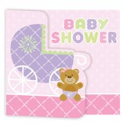 8 Invitations Baby Teddy Rose