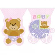 Guirlande fanions Baby Teddy Rose