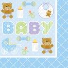 16 Serviettes Baby Teddy Bleu