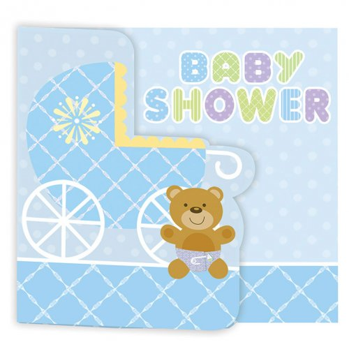 8 Invitations Baby Teddy Bleu