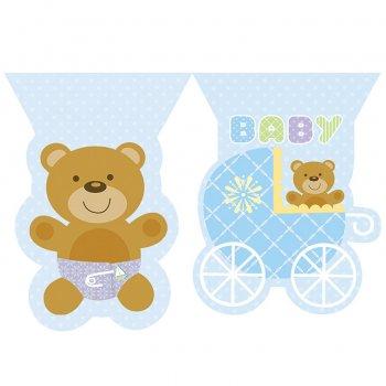 Guirlande fanions Baby Teddy Bleu
