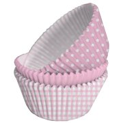 75 Caissettes à Cupcakes Rose/Blanc