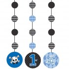 3 D�corations � suspendre 1 an Baby Pirate Bleu