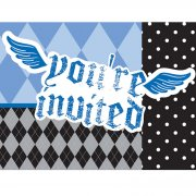 8 Invitations 1 an Baby Pirate Bleu