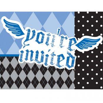 8 Invitations 1 an Baby Pirate Bleu