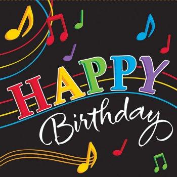 16 Serviettes Happy Birthday Dancing Music