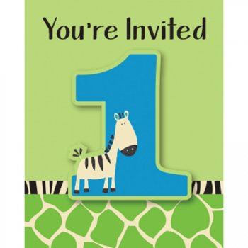 8 Invitations 1 an Petit Zèbre
