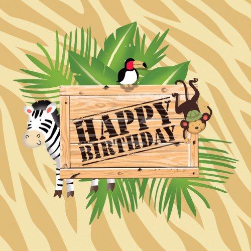 16 Serviettes Happy Birthday Safari Aventure