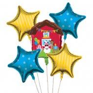 5 Ballons mylar Happy Ferme